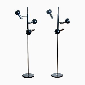 Chrome and Black Metal Floor Lamps by Koch & Lowy OMI, Germany, 1970s, Set of 2