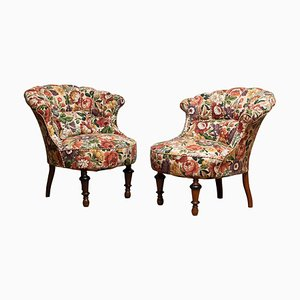 19th Century French Napoleon III Emma Floral Slipper Chairs, Set of 2