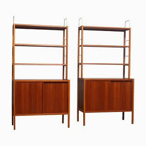 Teak, Oak & Brass Bookcases by Bertil Fridhagen for Bodafors, Sweden, 1960s, Set of 2