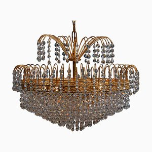 24-Carat Gold-Plated and Faceted Crystal Chandelier from Reijmyre, Sweden, 1961
