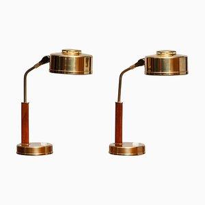 Brass and Teak Table or Desk Lamps from Bjs Skellefteå, Sweden, 1960s, Set of 2