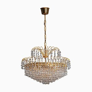 24-Carat Gold-Plated and Faceted Crystal Chandelier from Rejmyre, Sweden, 1961