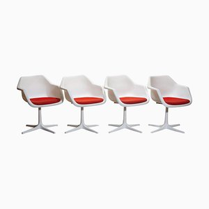 White Swivels Chair by Robin Day for Hille, France, 1960s, Set of 4