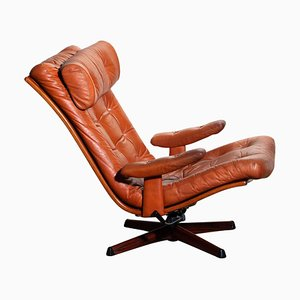 Cognac Leather Swivel Relax Lounge Easy Chair by Göte Design Nässjö, 1960s