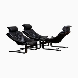 Kroken Lounge Chairs in Leather by Ake Fribytter for Nelo, Sweden, 1974, Set of 3
