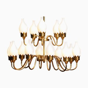 Brass and White Glass Opaline Arm Chandelier with Tulips from Fog & Mørup, 1950s
