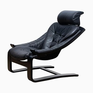 Black Kroken Lounge Chair in Leather by Ake Fribytter for Nelo, Sweden, 1974