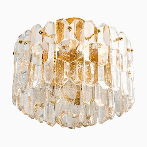 Large Palazzo Light Fixture or Flush Mount in Gilt Brass and Glass by J.T. Kalmar, 1960s