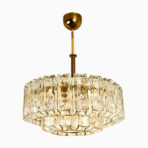 Glass and Brass Chandelier by J.T. Kalmar, 1960s