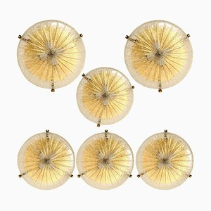 Handmade Glass and Brass Flush Mount or Wall Light from Hillebrand, 1969