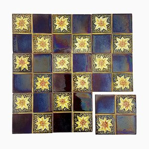 Art Deco Glazed Relief Tiles by S.A. Des Pavilions, 1930s, Set of 9