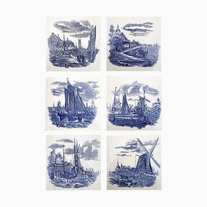 Dutch Blue Ceramic Tiles by Gilliot Hemiksem, 1930s, Set of 6