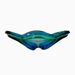 Cuenco azul y verde de cristal de Murano