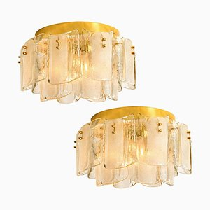 Large Massive Glass Brass Flush Mounts in the Style of Kalmar, 1969, Set of 2