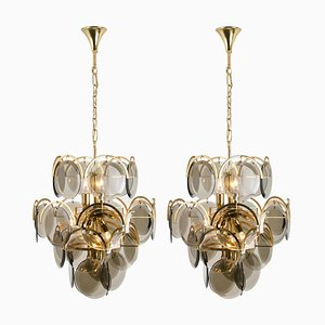 Smoked Glass and Brass Chandeliers in the Style of Vistosi, Italy, 1960s, Set of 2