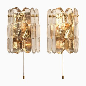 Palazzo Wall Light Fixtures in Gilt Brass and Glass J.T. Kalmar, 1970s, Set of 2