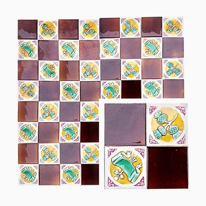 Art Deco Tiles by S.A. Faïenceries de Bouffioulx, 1929, Set of 110