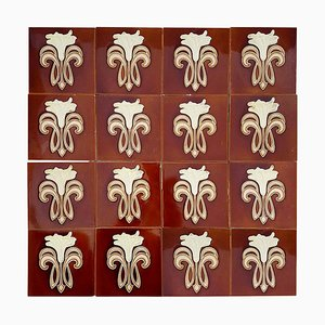 Art Nouveau Ceramic Tiles by Gilliot Factories For Hemiksem, 1920s, Set of 16