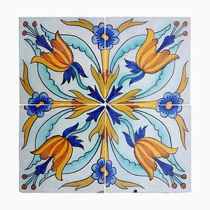 Antique Handmade Ceramic Tile by Devres, France, 1910s