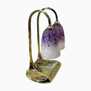 Antique Bronze Bousquet Double Lamp in Pâte De Verre Glass by Robert Bousquet, 1910s