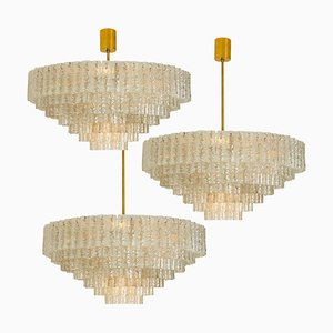 Large 7-Tier Chandelier Sculpture by Doria Leuchten Germany, 1960s