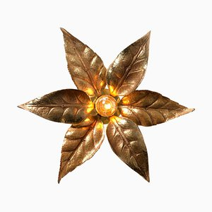 Brass Flower Wall Light in the Style of Willy Daro, 1960s