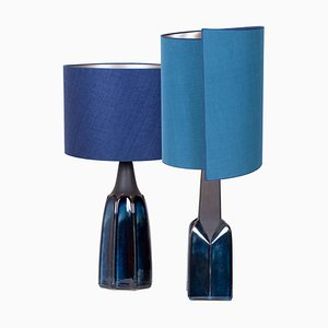 Table Lamps with Silk Lampshade by Soholm Pottery, 1960s, Set of 2