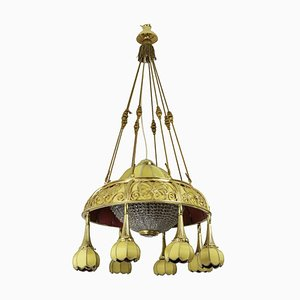 Antique Art Nouveau Gilt Bronze and Yellow Fabric Chandelier, 1900s