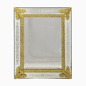 Louis XIV Style Engraved Gilt Bronze Mirror, 1880s