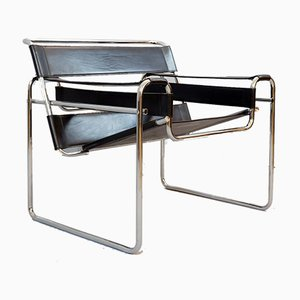 B3 Wassily Chair in Black Leather by Marcel Breuer Gavina, Italy, 1920s