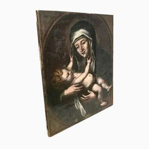 17th Century Oil on Canvas Saint with Child