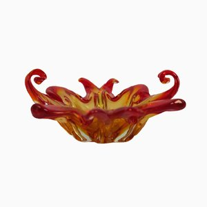 Vintage Orange Murano Glass Bowl