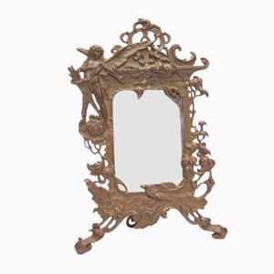 Small Art Nouveau Bronze Table Mirror
