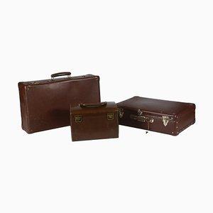 Koffer aus Pelle Leder und Pappe, 1950er, Set of 3