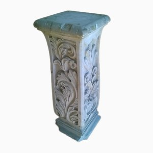 18th Century Marble Column with 4 Carved Sides