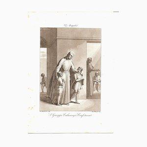 August 27 St. Joseph Calasanzio Etching by Filippo Bigioli