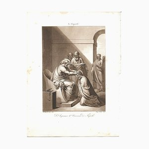 August 3 San Aspreno II Bishop of Naples Etching by Filippo Bigioli
