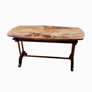 Vintage Coffee Table with Faux Marble Top, 1960s