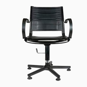 Desk Chair in Black Veil Pelle Leather, 1960s