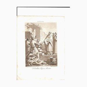 October 14 Pope St. Callistus Etching by F. Bigioli