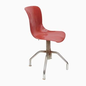 Office Chair with Ergonomic Seat in Brick Red Plastic, 1950s