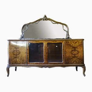 Italian Chippendale Dressing Table in Burr Walnut, 1950s