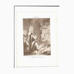 January 11 St. Theodosius Cenobiarch Etching by Filippo Bigioli