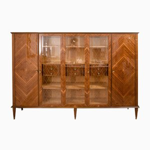 Studio Bookcase with Rhombus Inlaid, Italy, 1950s