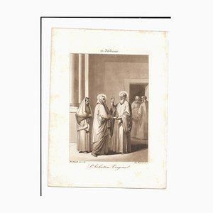 10 February Holy Scholastica Virgin Engraving by Filippo Bigioli
