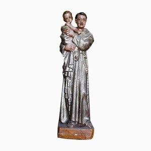 St. Anthony Statue mit Kind aus Polychromem Holz, 1800er