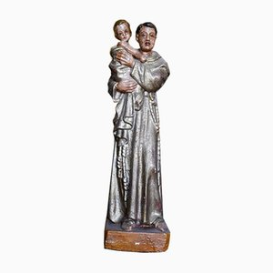 St. Anthony Statue with Child in Polychrome Wood, 1800s