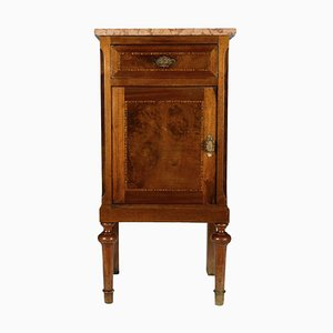 Antique Threaded Bedside Table with Pink Marble Top