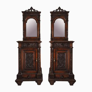 Sellerio Giuseppe Carved and Sculpted Walnut Nightstands, 1800s, Set of 2