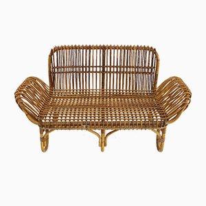 Rattan 2-Sitzer Sofa, 1950er